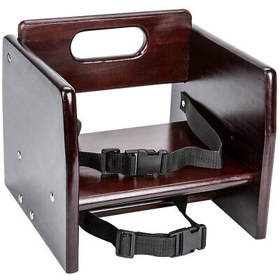 New Restaurant Wood Booster Seat Chair With Mahogany Finish Unassembled