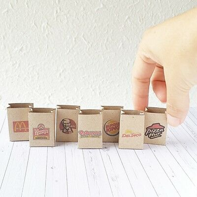 7 Shopping Bags Mixed Fast Food Store Craft Paper Dollhouse Miniature Supply Lot
