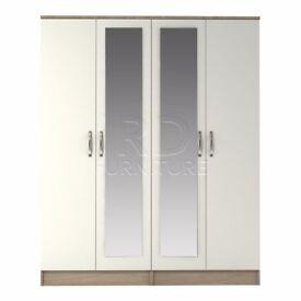 Classic 4 door double mirrored wardrobe oak and white