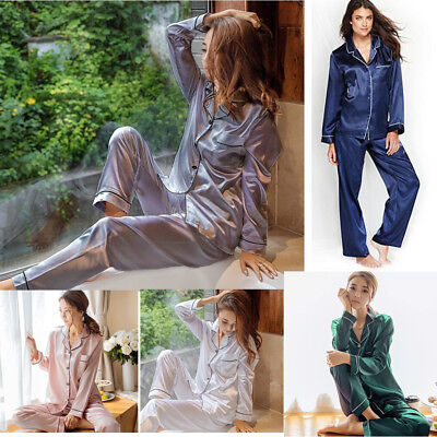 Women Girl Lady Silk Satin Pajamas Set Long Sleeve Button-Down Sleepwear Pajamas