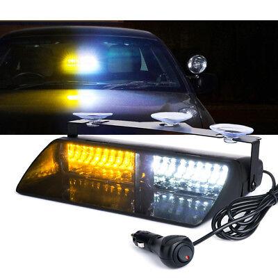 16 Led Strobe Light Windshield Dash Security System Emergency Lamp White Amber