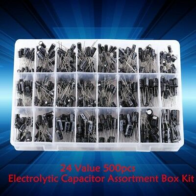 24 Values 500pcs Electrolytic Capacitor Assortment Box Kit 0.1uf-1000uf Gw