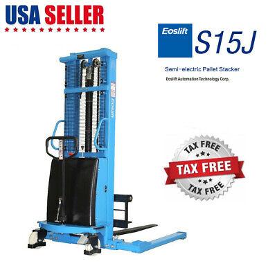 Eoslift Semi Electric Pallet Jack Straddle Stacker 3300lb Adjustable Width Fork