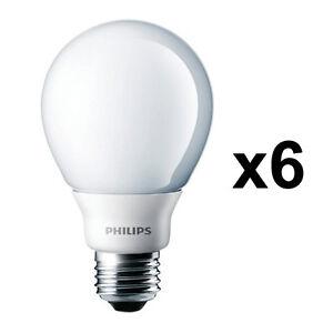 6 x Philips 15W Energy Saving GLS Lightbulb ES E27 Bulbs Warm White Lighting