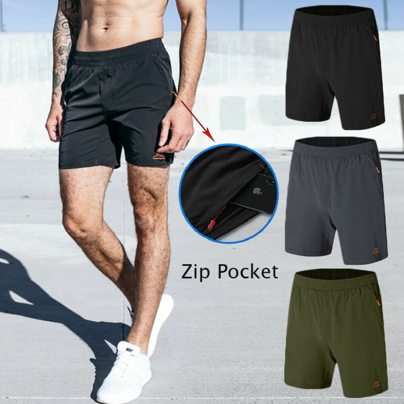 Men's Sports Shorts Zipper Pocket Quick Dry Training Pants A