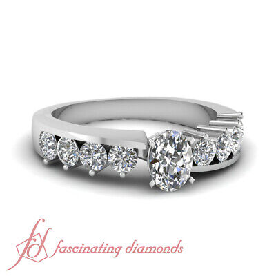 1.20 Ct Oval Shaped And Round Cut Diamond Unique Engagement Rings For Women GIA