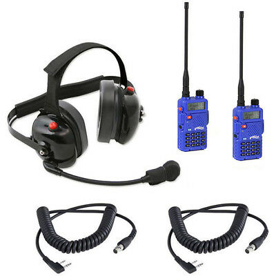 Dual Racing Radios Headset 2 Handheld RH-5R Radios & 2 Cords Cables NASCAR IMSA for sale  Shipping to Canada