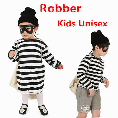Kids Robber Costume (Robber Costume Child Unisex Boys/Girls  Stripe Top Eye Mask and Bag)
