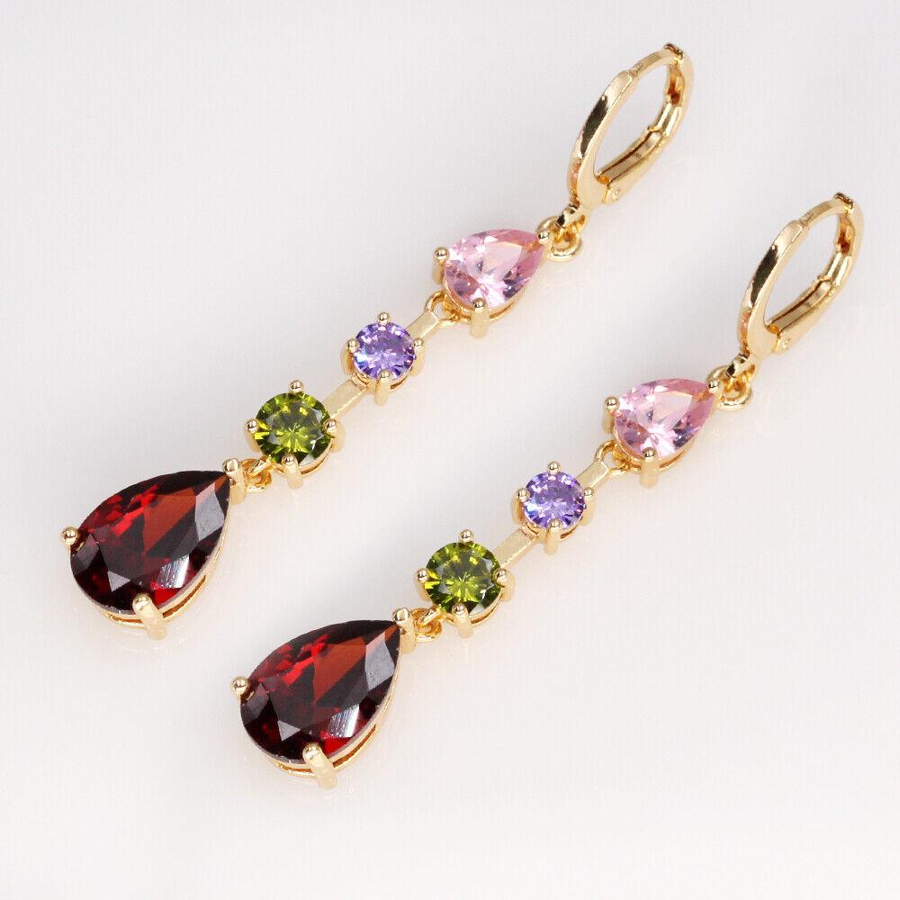 18K Gold Filled 1.83 Earrings Women Rainbow String Teardrop