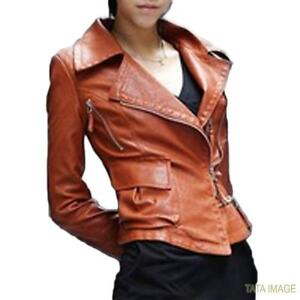 Womens Boyfriend Blazer Winter-Ladies Biker Faux Leather Jacket Top XS-L