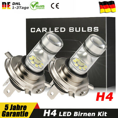2x 12V 100W H4 LED Nebel scheinwerfer kit Xenon Birnen 6000K Abblendlicht Lampen