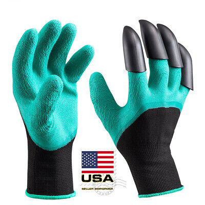Gardening Digging Planting Pruning Tools Lawn Care 4 Claws Garden Genie Gloves
