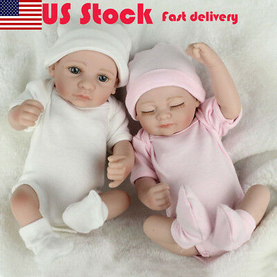 2PCS Twins Full Body Silicone Vinyl Boy Girl Handmade Baby Reborn Xmas Gifts New