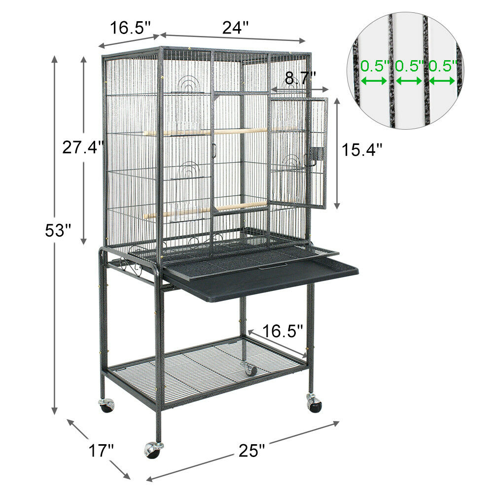 Bird Parrot Cage 25Wx17Dx53H Bar Spacing 1/2″ Cockatiel Conure Finch W/4 Wheels Bird Supplies