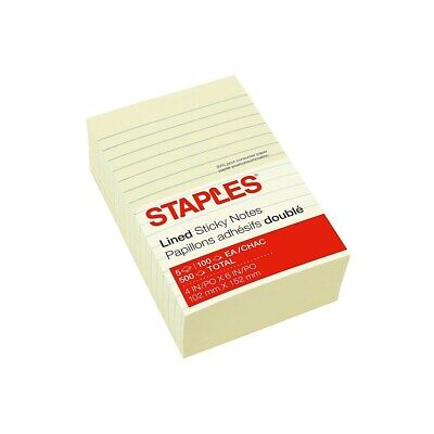 Staples Stickies Recycled Line-ruled Notes Yellow 4 X 6 5 Padspk 565436