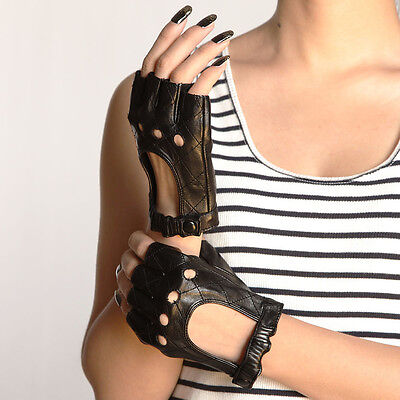 Ladies Leather Driving Gloves - Ladies Woman Genuine Nappa Leather Half Finger Driving Gloves Black On Sale #099