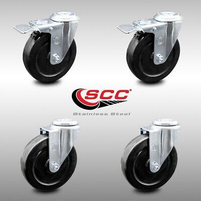 Hard Rubber Swivel Bolt Caster Set Of 4 W5 Wheels - 2 Wttl Brakes