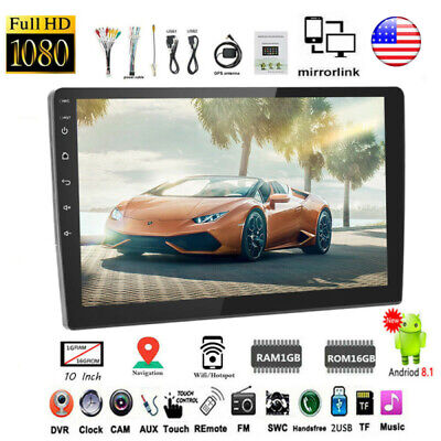 "10.1"" Android 8.1 GPS Navigation Wifi Car Radio Stereo Touch Screen 2.5D Glass"