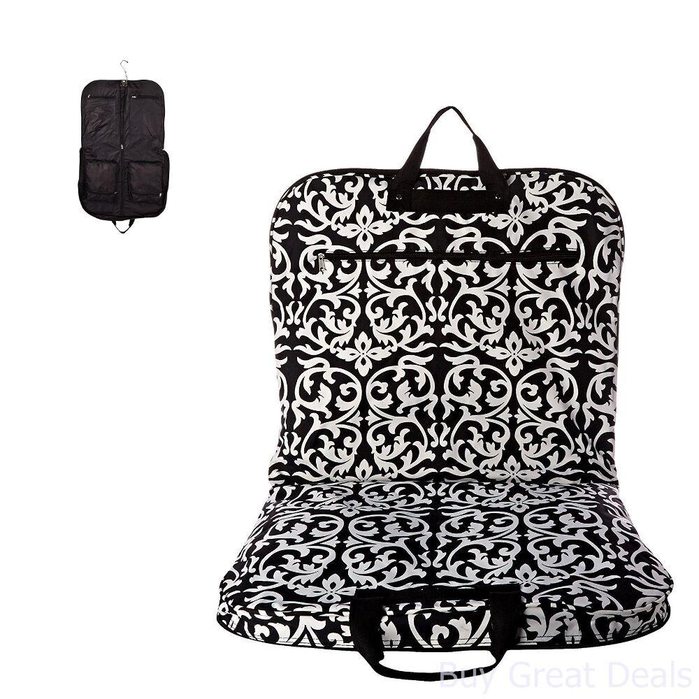 a6a9c4384ffb Details about Hanging Garment Bag Black Trim Damask One Size World Traveler  40 Inch