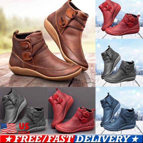 Womens Casual Flat PU Leather Strap Boots  Round Toe Riding