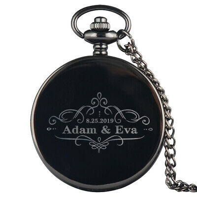 Luxury Personalised Engraved Wedding Pocket Watch with Chain Usher Best Man