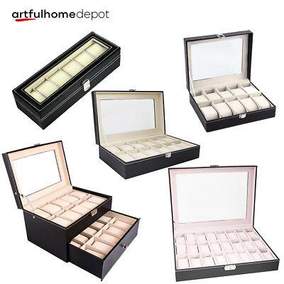 24/20/12/10/6 Slot Watch Storage Box Display Case Organizer Top Glass Jewelry