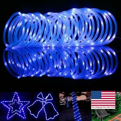 Solar Rope Powered Copper Wire String Lights Tube LED Strips Outdoor Garden Dec (Star String Lights)