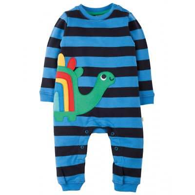 Frugi Baby's Organic Cotton Snug and Cosy Romper in Sail Blue for 6-12 Months