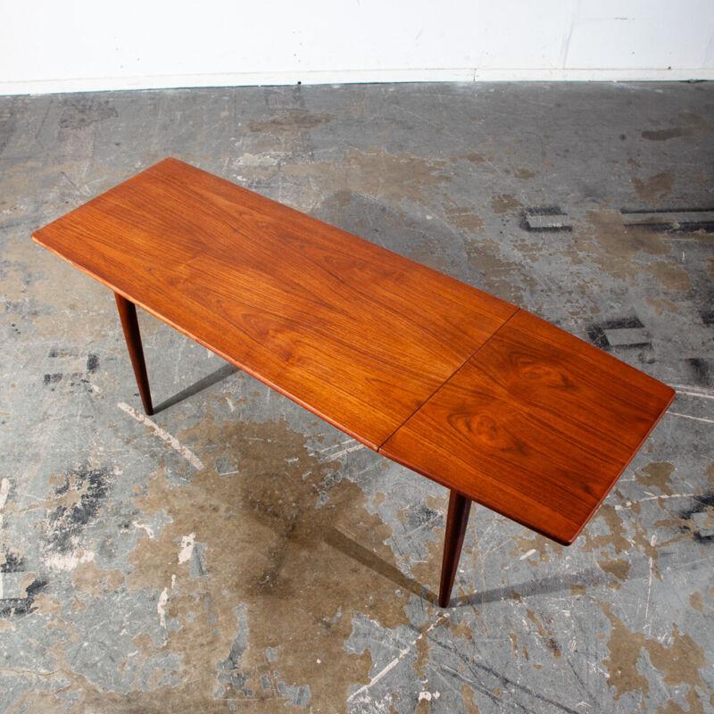 Mid Century Danish Modern Coffee Table Surfboard Teak Drop Leaf Denmark Sliding