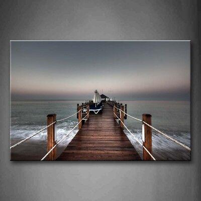 (Framed Long Pier Impassive Lake Wall Art Canvas Print Artwork City Decor Picture)