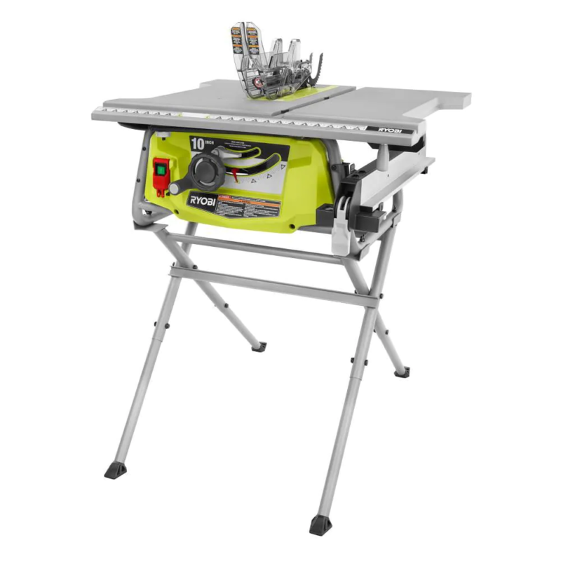 15Amp 10in Corded Table Saw Folding Stand Center Blade Guard