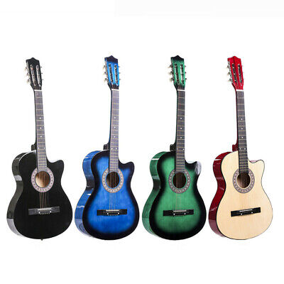 Acoustic Guitar 38'' Guitar Cutaway Instrument Kit with Case Strap Tuner Pick