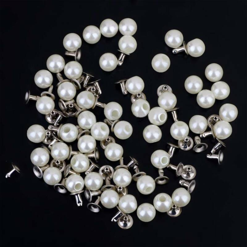 100pcs/set 6mm Pearls Rivets Studs For DIY Bag Shoes Clothes