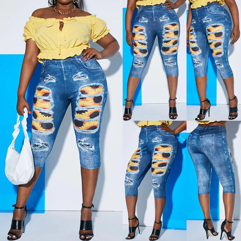 ❤️plus Size Women High Waist Skinny Stretchy Denim Jeans Pants Jeggings Trousers