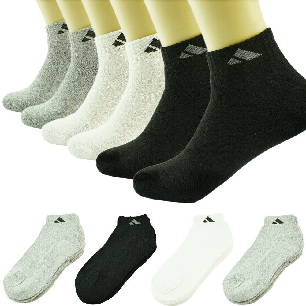 3 6 12 Pairs Boys Ankle Quarter Ladies Socks White Black Cotton Low Cut