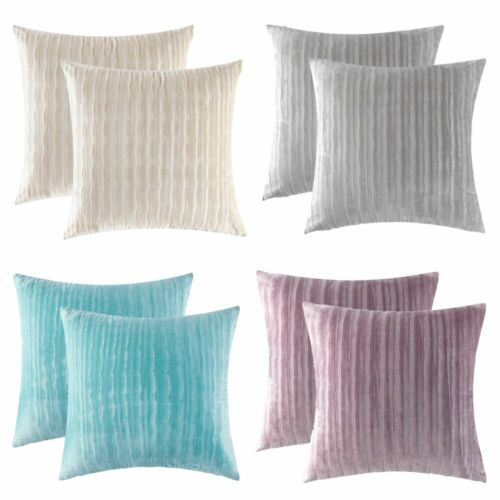 "18"" x 18"" Soft Striped Velvet Solid Square Throw Pillow Case"