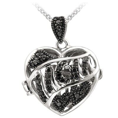 Black Diamond Accent MOM Heart Locket Necklace Diamond Mom Necklace
