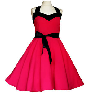 Rockabilly 50er Jahre Tanz Kleid Petticoat Pin Up Party  Baumwolle * XS-M  L-XXL