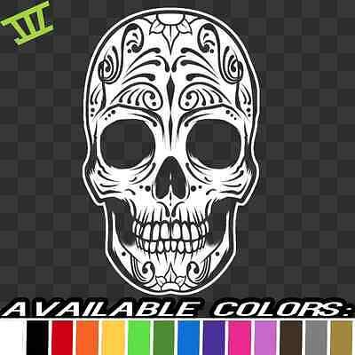 Dia De Los Muertos Tattoos (Sugar Skull Dia de los Muertos Vinyl Decal sticker mexican mexico tattoo)