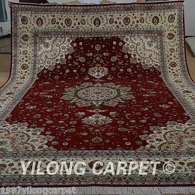 Red Carpets For Sale (Yilong 10'x14' Large Wool Silk Area Rugs Red Carpets Handmade For Sale)