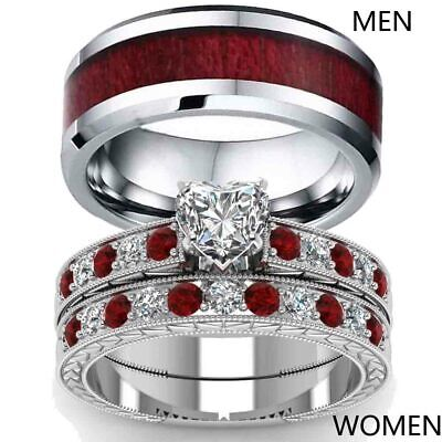 2 Rings Couple Rings Red Wood Tungsten Mens Wedding Band CZ Women's Ring (Wood Womens Ring)