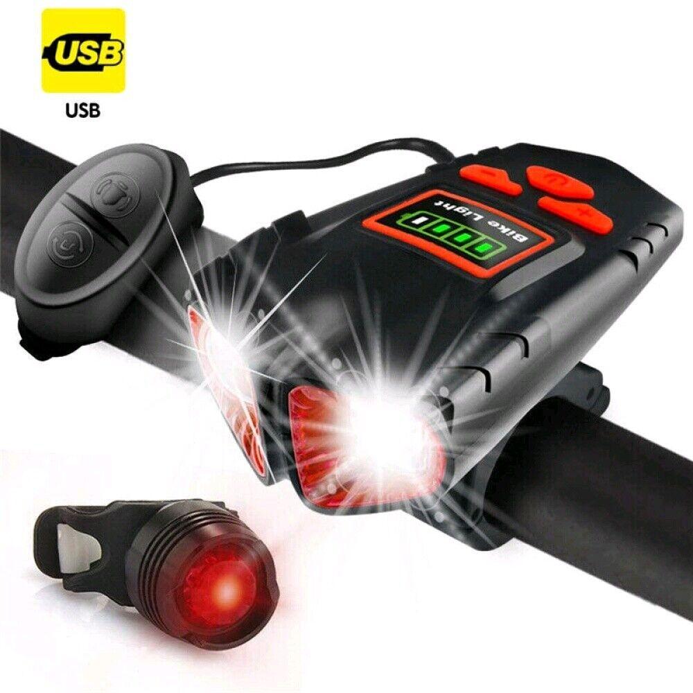 LED Fahrradbeleuchtung Lampenset Scheinwerfer Rücklicht Fahrradlampe Aufladbar