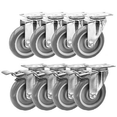 Lot Of 8 5 Caster Wheels Swivel Plate Casters On Grey Pu Wheels Combo