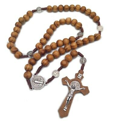 Rosary Necklace for Men Women Wood Prayer Bead Set Chain Crucifix Cross...