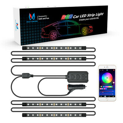 MICTUNING N1 RGB Interior Car Light LED Strip Light 4pcs Atmosphere Lamp 12V 24V
