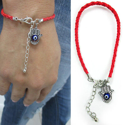 Women Hamsa Hand Evil Eye Rope Bracelet Good Luck Charm Kabbalah Red String Gift