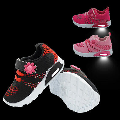 Light Up Sneakers Grils Toddler Breathable Mesh Knittled Uppes Gym Tennis Shoes