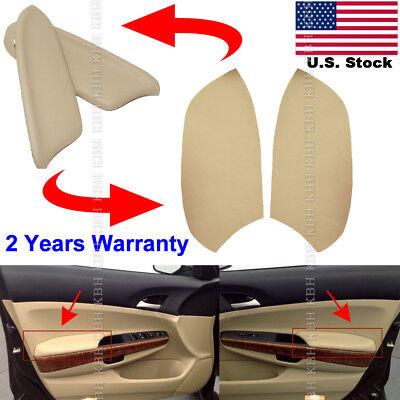 Leather Front Door Panels Armrest Cover for Honda Accord 2008 12 Sedan Beige Tan