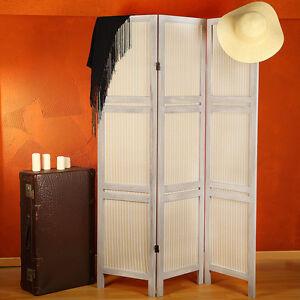 3 fach Paravent Raumteiler Shabby Chic Sichtschutz aus Holz Trennwand Stellwand