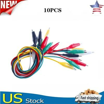 10pcs Double-ended Wire Crocodile Alligator Clips Test Leads Jumper Cable